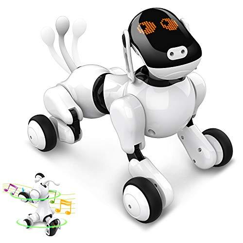 Jouet pour Chien Robot Intelligent, Jouets Rechargeables Programmables Intelligents Interactifs de Électronique Chiot de Robot Voix App Toucher Contrôlé avec Haut-parleur Bluetooth pour Garçons Filles