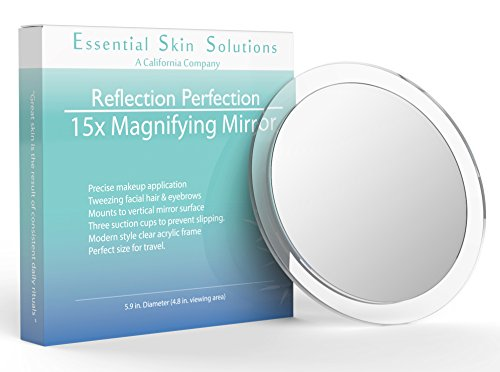 Essential Skin Solutions 15X Magnifying Mirror  Use for Makeup Application - Tweezing  and Blackhead/Blemish Removal  6 Inch Round Mirror with Three Suction Cups for Easy Mounting