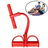 TOTUOKEY 4-Tube Elastic Sit Up Pull Rope Chest Fitness Beauty Leg, Portable Home Gym Device with Elastic Bodybuilding Equipment for Abdomen, Waist, Arm, Yoga Stretching Slimming Training (Red)