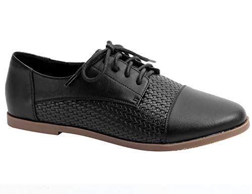 Greatonu Mujer Womens Derby Shoes Lace Up Flats Pointed Toe Back to School Shoes Oxfords Brogues Negro EU 40