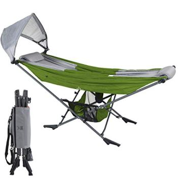 Mock ONE - Compact Portable Folding Hammock with Free Standing Frame includes Carrying Wrap and Sun Shade Perfect for Outdoor, Patio, Camping, Beach, and Festivals (Green/Gray)