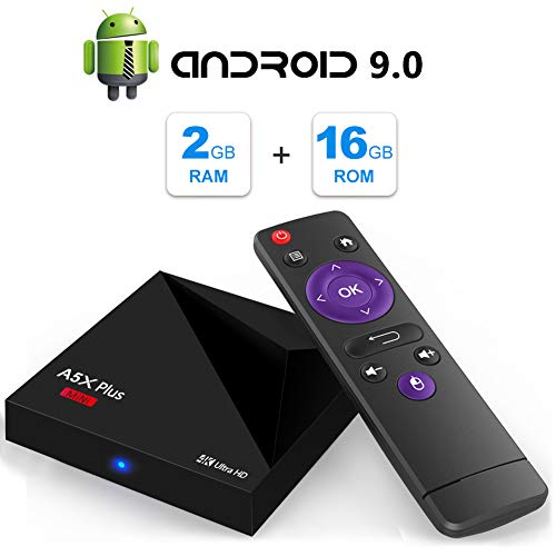 Android TV Box, A5X Plus Mini Android 9.0 2GB RAM/16GB ROM RK3328 Quad-Core 64bit Cortex-A53 TV Box Support 2.4G WiFi Ethernet 10/100M DLNA 3D 4K Mini TV Box