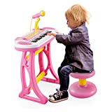 Reditmo 31 Keys Kids Piano Keyboard, Educational Toy Electronic Organ, with Microphone and Firmer Stool, for 18M+ 2-6 Year Old Children, Baby, Toddlers, Birthday, Pink