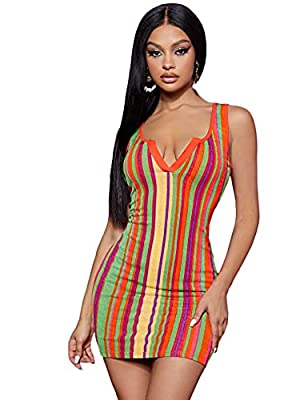 Fabric has slight stretch Rainbow striped print, notched neck, sleeveless, bodycon mini dress Perfect for holiday, travel, outdoor, vacation, dating, beach wear, party Machine Washable or Hand Washable Please refer to Size Chart in Product Descriptio...
