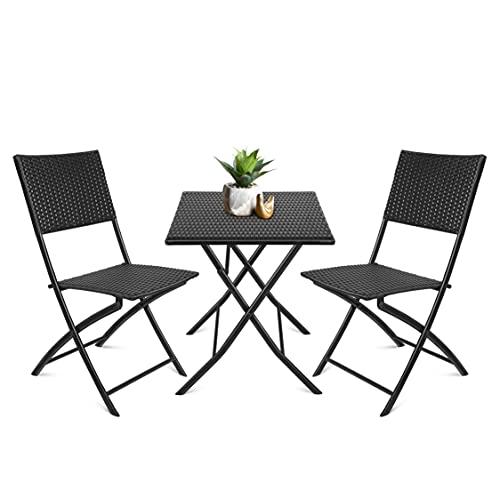 La voglia di fare Set Bistro, Set da 3 Pezzi, tavolino + 2 sedie, Arredo Giardino, Comodo, Portatile, Impermeabile, Plastica PP, anti-UV, per Balcone, Giardino, Terrazza, Nero