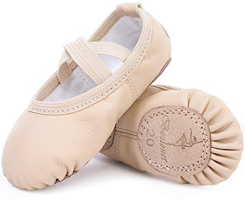 Zapatillas de Danza Cuero Zapatos Media Punta de Ballet y Gimnasia para Niña y Mujer Beige 25