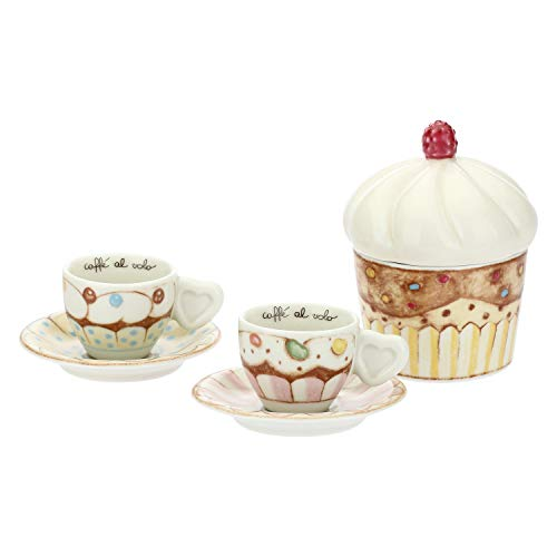 THUN  - Set 2 Tazzine caffè e zuccheriera - Linea New Sweet Cake - Porcellana - 100 ml - Ø 6 cm