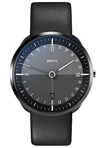 BOTTA Herren-24H-Stunden-Uhr Schweizer Quarzwerk mit Lederarmband TRES 24 (40 mm, Black Edition)