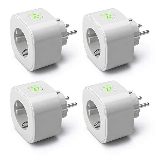 Meross Intelligente WLAN Steckdose Smart Plug, Stromverbrauch messen Timer Funktion Steckdose mit Alexa, Google und SmartThings, 16A 3680W, 4 Stücke, Grau