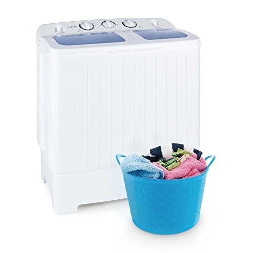 oneConcept Ecowash XL - Lavatrice, Mini-lavatrice, Capacit 4.2 kg, Comparto per Centrifuga da 3 kg, 300W di Potenza per Lavaggio e 110W per Centrifuga, 2 Programmi, Silenziosa, Risparmio Energetico, Bianco