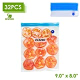 VICARKO Vacuum Sealer Zipper Bags BPA Free with Air Valve Double Layers Sous Vide Cooking Replacement for Portable Handheld Pump Reusable Resealable Plastic Sandwich Freezer Bags for Food Storage Kitchen Small Size