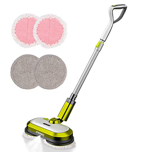 Cordless Electric Mop, Electric Spin Mop with LED Headlight and Water...