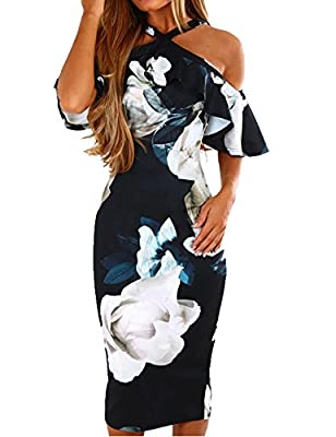 Material: Polyester.quality stretchy fabric looks fashion,touches super soft and comfortable.Please refer to our size chart before placing an order Color: Pink, Black, Navy Blue Design: Floral Print,Ruffle Short sleeve,Off The Shoulder And Ruffled De...