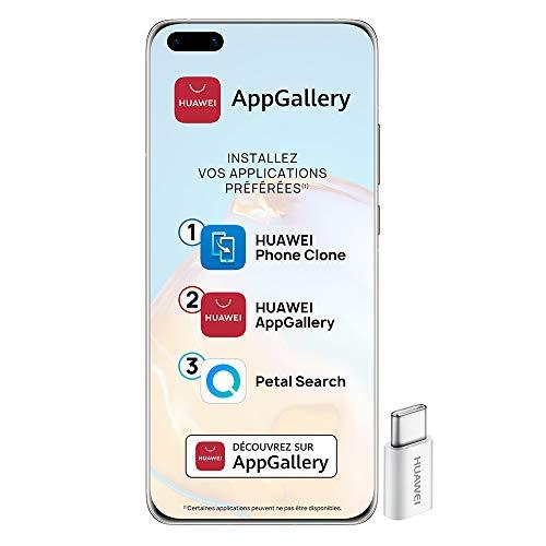 Huawei P40 Pro Smartphone débloqué 5G (6,58 pouces - 8/256go - Double Nano SIM EMUI 10.1 & AppGallery) Or + 52VA Adapter - Type C Plug [Version Française]