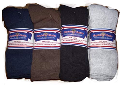 Men's Diabetic Crew Socks 10-13 - Cotton Blend Physician's Choice Seamless 12 Pack Black, Blue, Brown, Gray Made In USA