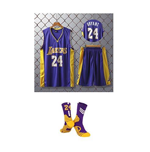 GBY Ragazzi Uniforme di Basket, Classic Los Angeles Lakers Kobe Bryant No.24 Uniforme di Basket, Fan Version Abbigliamento Sportivo, Maglia Fitness Top/Shorts/calzin Purple-XS