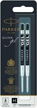 PARKER QUINK Gel Ink Refills, Medium Tip (0.7 mm), Black, 2 Count