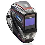 Large Viewing Screen 3.9'X2.4' True Color Solar Power Auto Darkening Welding Helmet, 4 Arc Sensor Wide Shade 4/5-9/9-13 for TIG MIG Arc Weld Grinding Welder Mask Robot Design