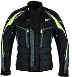 JET Motorcycle Motorbike Jacket 3 Layer Premium All Seasons Textile Waterproof CE Armoured Adventurer (Fluro, L (40' - 42'))