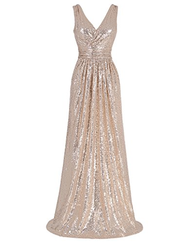 Kate Kasin Damen Pailletten Abendkleid Ärmellos Homecoming Kleid Maxikleid KK199,Kk199-2(rotgolden),52 EU