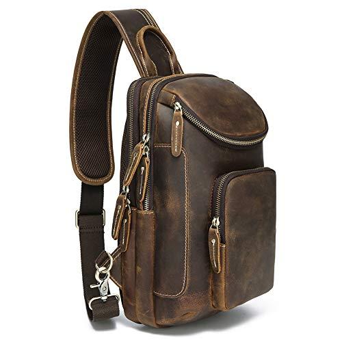 Lannsyne Vintage Full Grain Leather Sling Bag Crossbody Chest Daypack