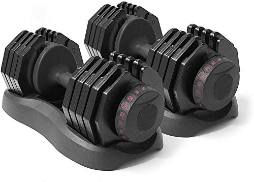 Strongology Home Fitness Adjustable Smart Dumbbells Pair from 5kg to 40kg Training Weights in Black
