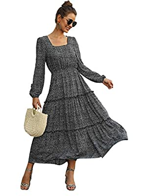Make of soft fabric material Long sleeve ditsy floral print long dress,square neck,frill details,flared and swing High waist A line dress,elastic band at waist for you easy to dress up or down,fits true to size Chiffon material,so light and airy,flow...