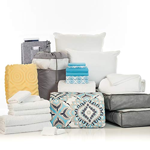 OCM College Dorm Room 24-Piece Complete Campus Pak | Twin XL | with Topper, Comforter, Sheets, Towels, Storage &...