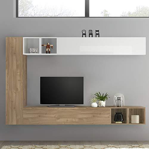 NOUVOMEUBLE Mobile TV sospeso Bianco Laccato e Colore Rovere LIZZANO
