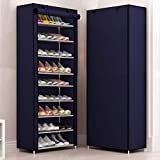 Sasimo Multipurpose Portable Folding Shoes Rack 9 Tiers Multi-Purpose Shoe Storage Organizer Cabinet Tower with Iron and Nonwoven Fabric with Zippered Dustproof Cover (9_Navyblue)(Shoes Rack for Home)