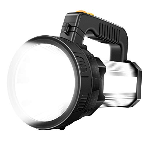 Spotlight Flashlight, Rechargeable Handheld LED Spotlight, Super Bright 6000 High Lumens 9600mAh Outdoor Searchlight IPX4 Waterproof Brightest Flashlight with USB Output Function (Silver)