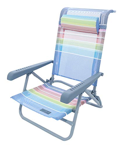 Meerweh Strandstuhl mit Verstellbarer Rückenlehne und Kopfpolster Klappstuhl Anglerstuhl Campingstuhl Regenbogenfarben
