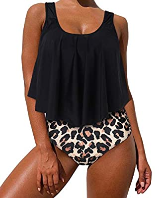 Soft Metearial:87%Polyester+13%Spandex.Feature quick dry,stretch and smooth fabric to wear. Flounce Tankini Top:Removable paded with adjuestable strap,wear as a crop swim top offer good support and enhance your shape. Cute ruffler bikini set looks mo...