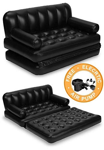 ShopHere Best 5 in 1 Inflatable 3 Seater Queen Size Sofa Cum Bed with Pump and Carry Bag
