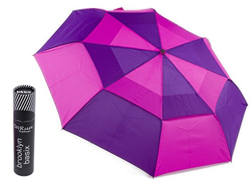 Brooklyn Basix DriRun Premium Travel Umbrella - Auto Open Close - Stylish Two Toned Double Vented Canopy - Compact Light & Easy To Carry Pink/Purple