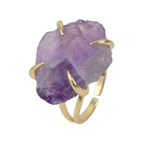 ZENGORI Irregular Purple Amethyst Four-Claw Adjustable Ring...