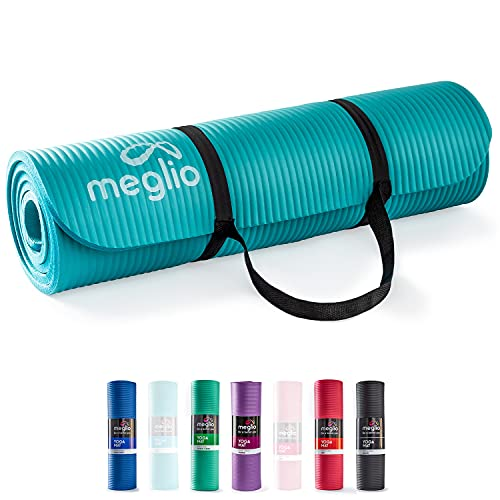 Meglio Yoga Mat, 10mm thick Exercise Fitness Mat, Non-Slip Soft NBR Foam Mat, Padded Support for Pilates, Gymnastics, Stretching, Camping & Home workouts for Men & Women, FREE Carry strap included