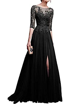 3/4 sleeves long prom dresses 2019 Feature: lace appliques sheer bodice with 3/4 sleeves,side slit skirt; With sash at the waist; Occasion: prom, party, evening, formal and other special occasions; Before ordered, please do refer to seller's size cha...