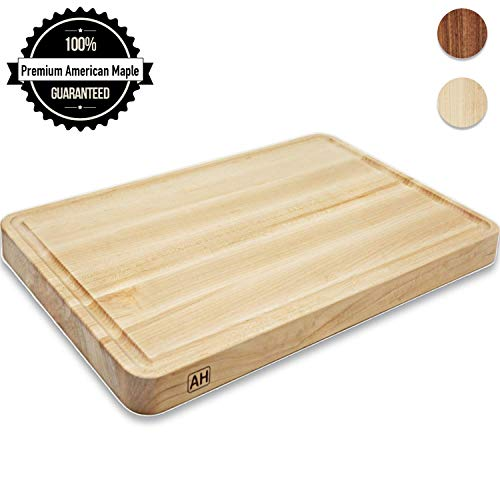 Wood Cutting Board Large Maple 17x11 Inch Reversible with Juice Groove, Extra Thick Butcher Block Chopping Board Carving Cheese Charcuterie Serving Handmade by AtoHom