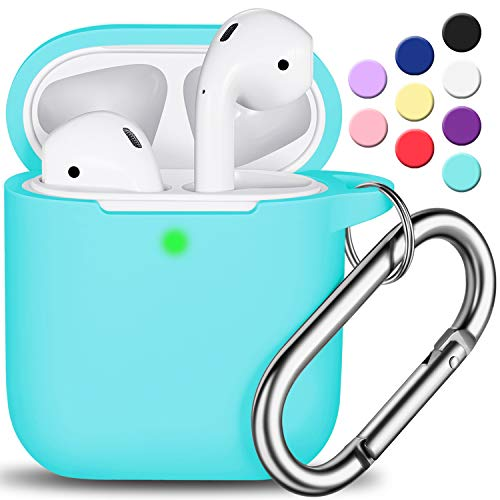 AirPods Case Cover with Keychain, Full Protective Silicone AirPods Accessories Skin Cover for Women Girl with Apple AirPods Wireless Charging Case,Front LED Visible-Mint Green