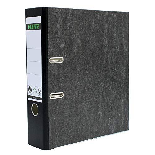 Leitz Qualitäts-Ordner, A4, klimaneutral, 80 mm Rückenbreite, schwarzer Rücken, Wolkenmarmor-Papier, 10805095