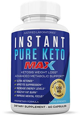 Instant Pure Keto Pills Max 1200MG Keto Pills Advanced BHB Ketogenic Supplement Exogenous Ketones Ketosis for Men Women 60 Capsules 1 Bottle 1