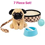 """Adora Amazing Pets """"Preston the Brown Pug"""" – 18"""" Doll Accessory includes 4.5' Dog, Dog Bed, Collar, Leash, Ball, Wooden Bowl and Bone (Amazon Exclusive) (218882)"""