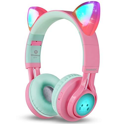 Riwbox CT-7 Cuffie Bluetooth con orecchie di gatto che si illuminano con luce LED, wireless, pieghevoli, con microfono e controllo del volume, per iPhone/iPad/smartphone/Laptop/PC/TV Pink&Green