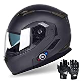 Motorcycle Bluetooth Helmets, FreedConn Flip up Dual Visors Full Face Helmet, Built-in Integrated Intercom Communication System(Range 500M,2-3Riders Pairing,FM radio,Waterproof,M,Gray)