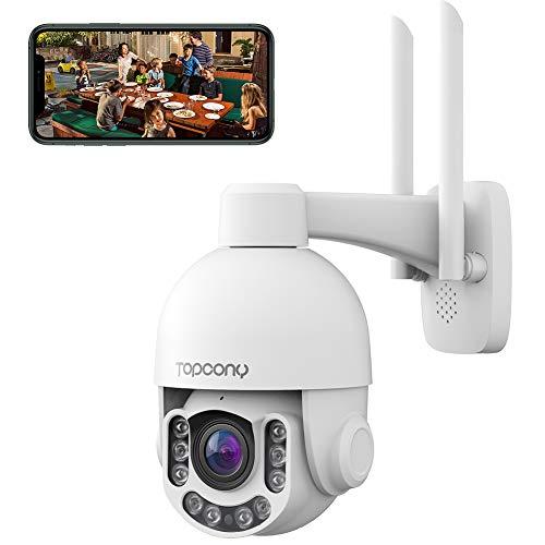 Telecamera Wi-fi Esterno 5MP HD, Topcony PTZ IP Dome Telecamera di Sorveglianza con 355° Pan 110° Tilt, Zoom Ottico 4X, Visione Notturna a Colori 60m, Audio a 2 Vie, Rilevazione Umano, Supporto ONVIF