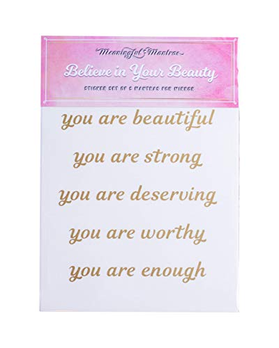 Meaningful Mantras Motivational Mirror Stickers for Bathroom, Kitchen, Bedroom Living Room Wall Decals Quotes Beauty Stickers (Believe in Your Beauty)