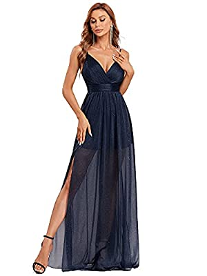 Fully lined, padded, soft fabric Features: floor-length, a-line, side slit, spaghetti straps, deep v neck, sparkle formal party dress, elegant and comfortable dress for parties Formal sparkle evening dress with spaghetti straps and side slit, this pa...