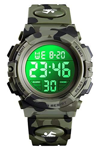 Orologio digitale per bambini, orologi sportivi impermeabile con sveglia/cronometro/12-24H,...