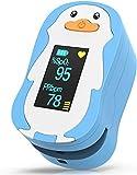 HOMIEE Saturimetro da Dito per Bambini,Pulsossimetro da Dito, Ossimetro da Dito, 4 Direzioni Visualizza SpO2 & PR Letture in 8s, Blu